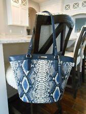 New BRAHMIN Medium Bowie Leather Snake Print Shoulder Bag COBALT BALLINGTON $385