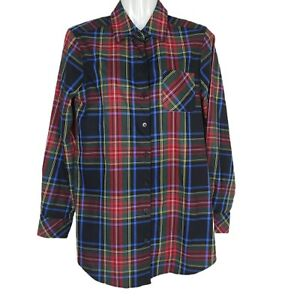 Orvis Womens Shirt Size 6 Plaid Black Red Blue Carefree Button Down Long Sleeve