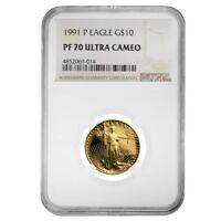1991 P 1/4 oz $10 Proof Gold American Eagle NGC PF 70 UCAM