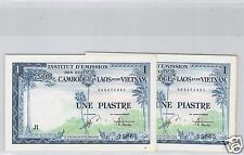 INDOCHINE LOT DE DEUX 1 PIASTRE ND (1954) N° 000875866 & 000875865 PICK 105