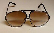 Vintage JAGUAR Large Aviator Sunglasses - Black Frame/Brown Gradient Lenses
