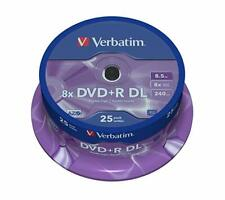 25 Verbatim Logo Dual Layer DVD+R 8x DL Double layer Blank Discs 8.5GB 43757