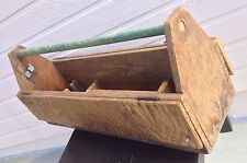Primitive Vintage Handmade Large Tool Box Tote With Dividers  - Very Cool!