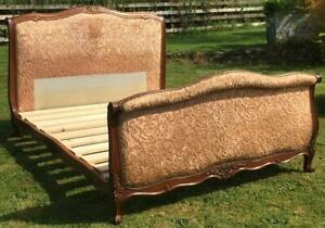 PRETTY EARLY 20th CENTURY  FRENCH UPHOLSTERED DOUBLE SLEIGH BED