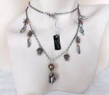Cat charm Necklace-Mixed Metal-Feline Themed-Charm Necklace