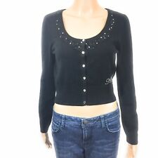 Apple Bottoms Womens Sweater Size Large Black Button Front Crop Cardigan Knit
