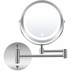 Wall Mounted Makeup Mirror 10x Magnifying Double Sided LED Lighted Vanity Mirror