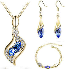 New 18K Gold Plated Jewelry Set Charm CZ Elegant Hot Necklace Earrings Bracelet