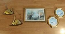 Vintage Home Interiors 5 Piece Swan Pictures and Wall Decorations