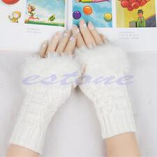 Women Winter Warmer Faux Rabbit Fur Hand Wrist Knitted Fingerless Gloves Mittens