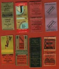 (8) OLD Cedar Rapids IA Matchbook Covers - F.O.E.-Country Club-Tavern - Etc.