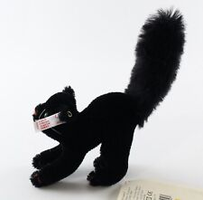 """Steiff 666957 Scary Cat Black Mohair Limited Edition 7"""" Tall W/ Button ca 2003"""