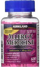 Kirkland Signature Allergy Medicine Diphenhydramine HCI 25 Mg, 600 Minitabs