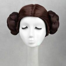 Star Wars Princess Leia Organa Wig Brown Two Buns Cosplay Wig + Wig Cap
