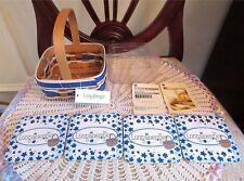 Longaberger Coaster Tote Basket Protector Combo 2010 Blue White 4 Coasters New