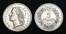 5 Francs 1938 Lavrillier Nickel. SUP. Cote SUP: 150€ / SPL: 300€