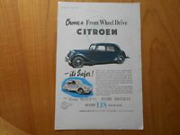 Vintage Citroen 2CV Advert -- Original -- from 1954