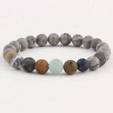 1PC Gray Natural Stone Beaded Ball Chain Bracelet Women Men Gift Jewelry 8mm