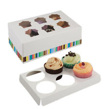 Six Cupcake Box with Window Stripe Design Cake Birthday Party Weddings Catering