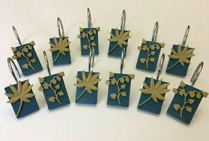 12 Blue Resin Leaf Design Shower Curtain Metal Hooks Bathroom Decor