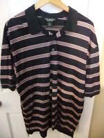 BROOKS BROTHERS COUNTRY CLUB BLACK STRIPED S/S MENS POLO SHIRT -LARGE