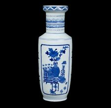 Cina 20. secolo. - A Chinese Blue & White Rouleau VASO Kangxi Style-chinois cinese