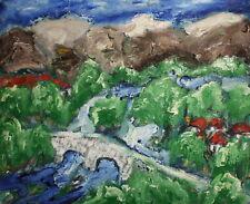 Vintage expressionist oil painting landscape signed