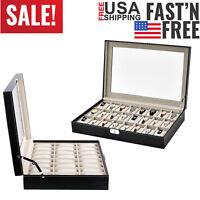 24 Slot Leather Watch Box Display Case Glass Top Jewelry Storage Organizer Tool