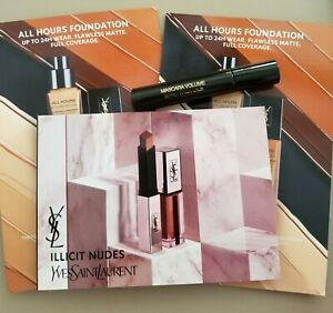 Beauty lot:high end luxury samples by YSL  Foundation cards, Mascara,  lip color