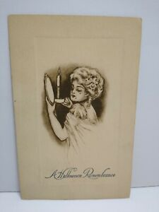 Vintage Halloween Postcard Gibson Sepia Raised Border Remembrance 1910 Original