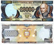 ECUADOR 20000 Sucres Banknote World Paper Money UNC Currency BILL Pick p129 1999