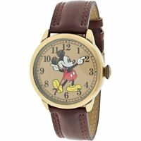Disney MCK959 Mickey Mouse Unisex Gold Tone & Leather Classic Moving Hands Watch
