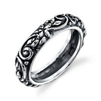 925 Solid Vintage Sterling Silver band ring for women #JIBR005 Scroll work
