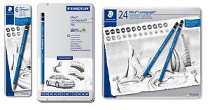 STAEDTLER MARS LUMOGRAPH 100 PENCILS 6,12, and 24 Tin Pencil Sketching Set NEW!