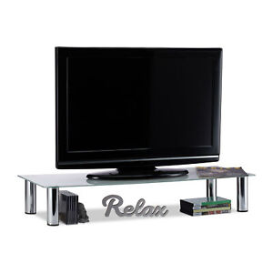 Glass TV-Stand, White and Silver Entertainment Centre, Console Table