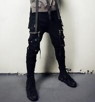 Fashion Men New Zip Hip Hop Street Punk Leisure Pants Motorcycle Gothic Trouser