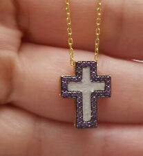 Sterling Silver Cross Necklace, Yellow Gold Plated Enamel Cross Necklace w/CZ