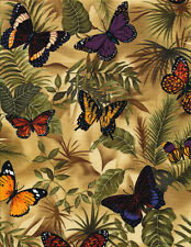 Butterflies on Leaves Nature Timeless Treasures #6125 By the Yard