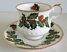 Queens Yuletide Footed Bone China Tea Cup and Saucer England