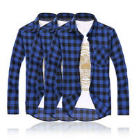 Men's Shirts Check Flannel Brushed Cotton Long Sleeve Casual Shirt Fashion