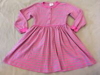 Hanna Andersson 130 Playdress Pink Green Stripes Girls Long Sleeve Flaw