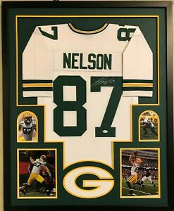 FRAMED GREENBAY PACKERS JORDY NELSON AUTOGRAPHED SIGNED JERSEY BECKETT COA
