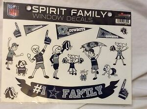 NIP DALLAS COWBOYS  SPIRIT FAMILY-PACK WINDOW DECAL by NFL~STICKERS FOOTBALL