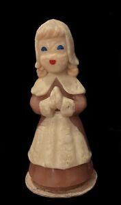 vintage THANKSGIVING GURLEY CANDLE BROWN PILGRIM PURITAN GIRL Open Unused