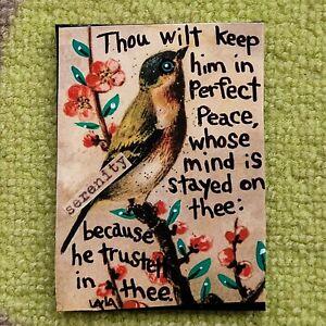 ORIGINAL ACEO Folk Art Bible Scripture Christian Peace Trust Flower Bird Mind