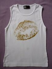 Trixie Marie L.A. White Cotton Sleeveless Fitted Top Gold Glitter Lips 8 32 XS