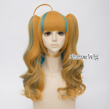 Kiznaiver Niiyama Niko Yellow Mixed Turquoise Green 45cm Cosplay Wig + Ponytails