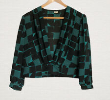 1980s Vintage Blouse Green & Black Pattern Size 12/14 V Neck Long Sleeves Pretty