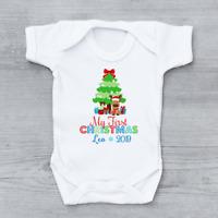 Personalised My First 1st Christmas Xmas Rudolph & Tree Boys Baby Grow Bodysuit