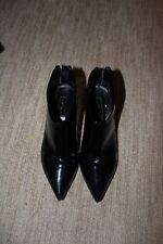 TOPSHOP 38 US 7.5 Women's Black Pointy Toe Patent Ankle Boots Zipper Block Heel